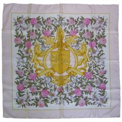 Burberry's Regal Lions Silk Floral Scarf c 1990