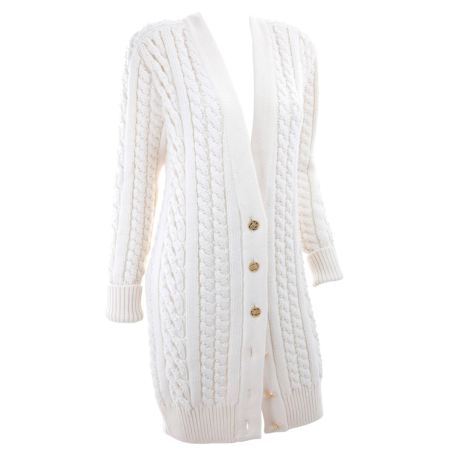 Vintage CHANEL Pearl Encrusted Cable Knit Cardigan in Creme sz ...