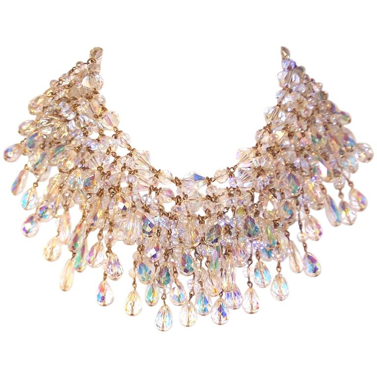 Cascading 1980's Multi Strand Crystal Chandelier Necklace 1