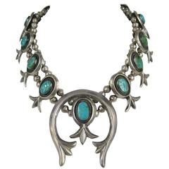 Old Pawn Native American Sterling silver Squash Blossom Turquoise Necklace