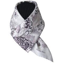 Hermes Silk Scarf Fleurs et Papillons de Tissu Pink White Grey 90 cm