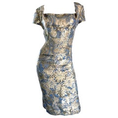 1950s Peggy Barton Couture Larger Size Gold + Blue Silk Brocade 50s Wiggle Dress