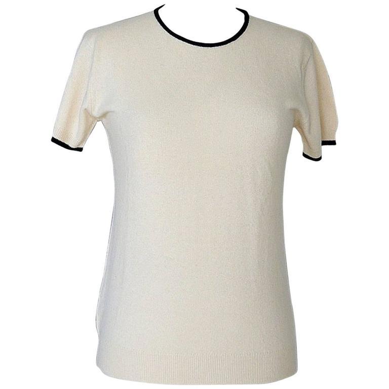 Chanel 97A Top Short Sleeve Ivory Cashmere Subtle Rear CC  42 / 8