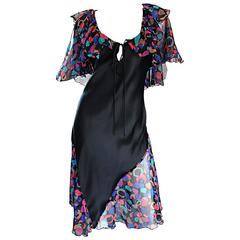 Bob Mackie Vintage 1980s Boho Colorful Black Semi Sheer Back Ruffle 80s Dress