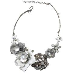 Philippe Ferrandis Enamel, Glass Cabochon, and Swarovski Crystal Floral Necklace