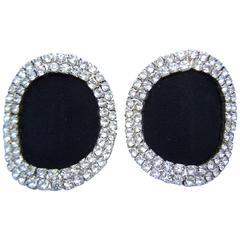 C.1970 Rhinestone Encrusted Black Fabric Shoe Clips