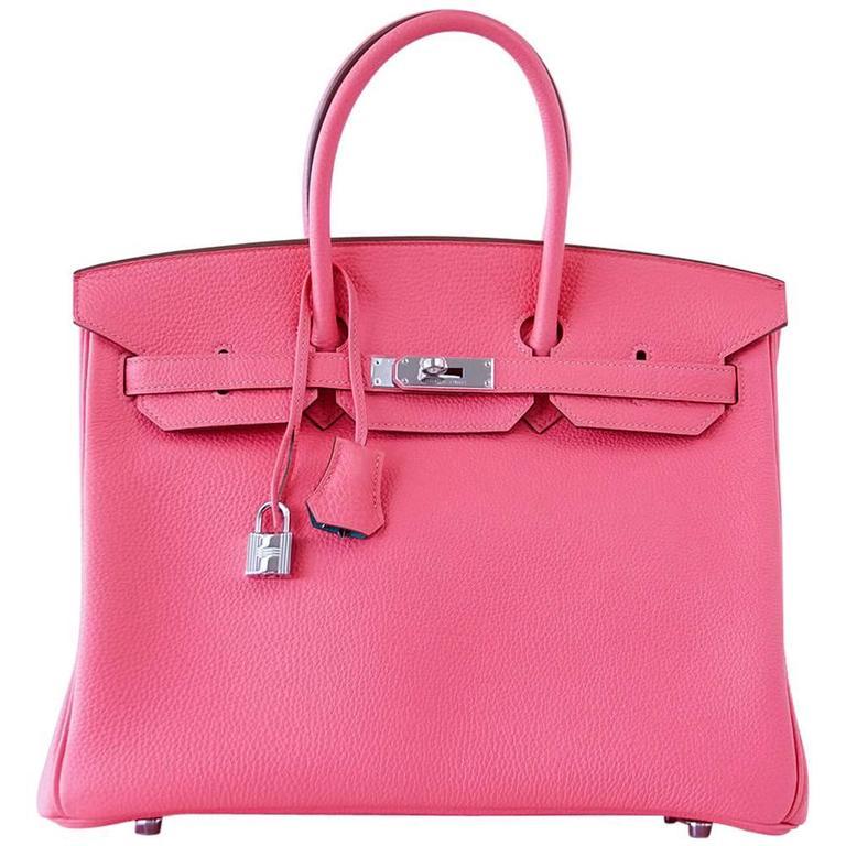 Hermes Birkin 35 Bag HSS Rose Lipstick Blue Paon Palladium Togo