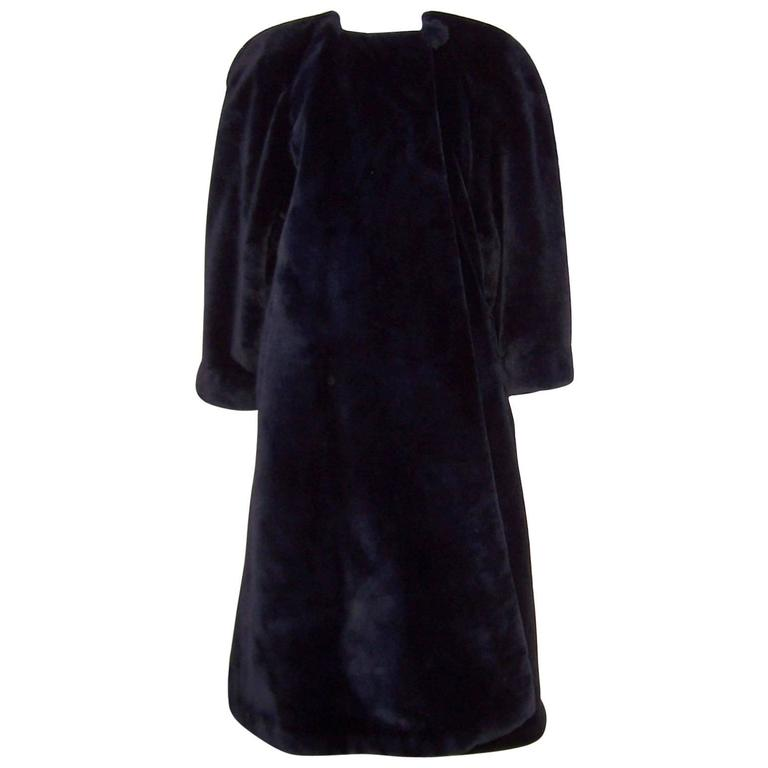 Fabulous 1980 S Sonia Rykiel Black Faux Fur Coat At 1stdibs