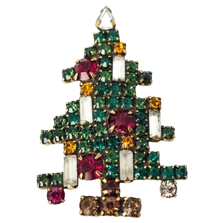 75cdb1839e8 60s Weiss Christmas Tree Brooch For Sale at 1stdibs