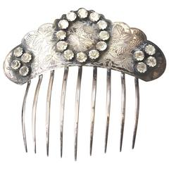 1800s Antique Silver Paste Stone Hair Comb