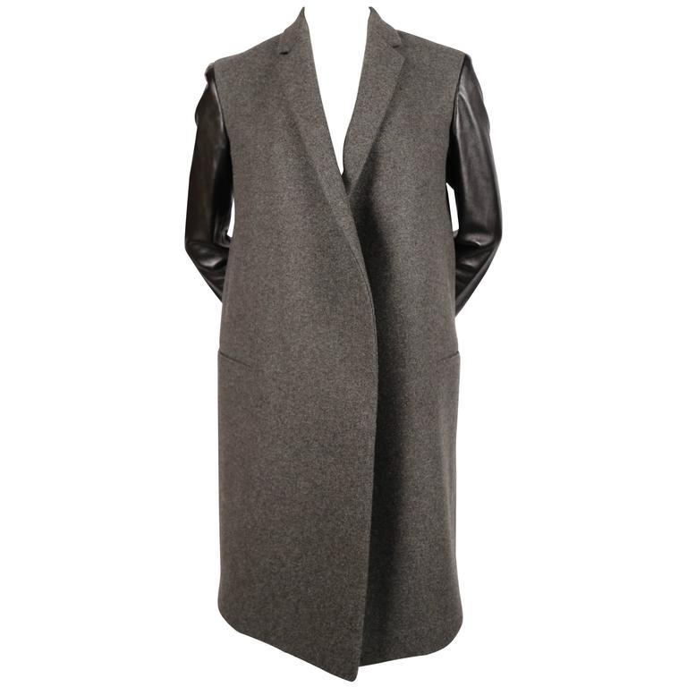 CELINE by Phoebe Philo charcoal grey crombie coat black leather sleeves