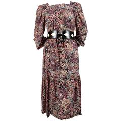 1970's SAINT LAURENT floral printed silk peasant dress