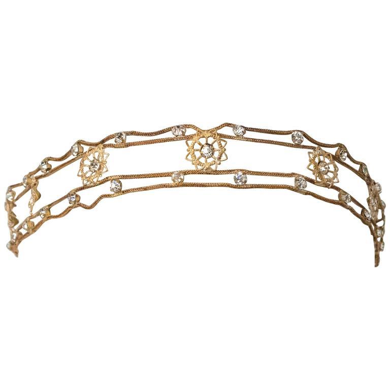 20s Flapper Headband Crystal Gold Lamé  1