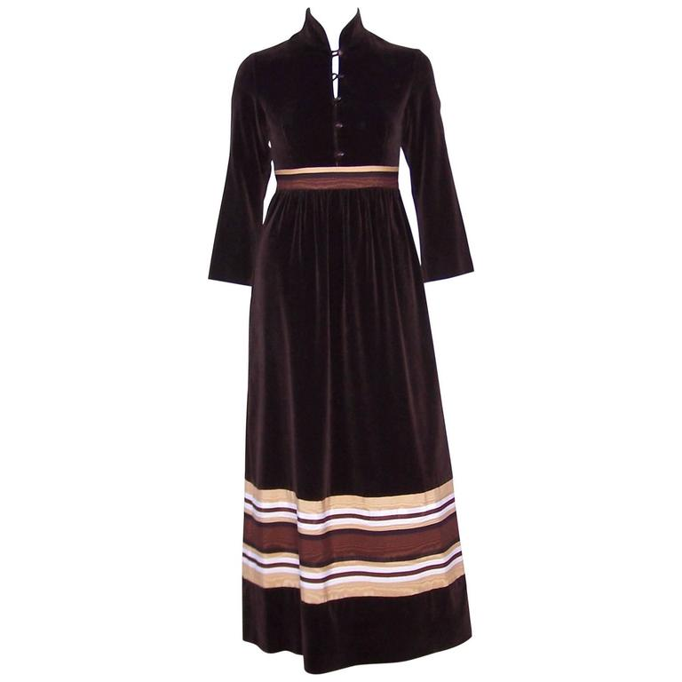 1970's A. J. Bari Chocolate Brown Velveteen Maxi Dress With Moire Trim