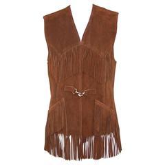 Boho C.1970 Suede Fringe Saks Fifth Avenue Western Style Vest