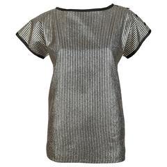 1980's SAINT LAURENT gold and black metallic striped top