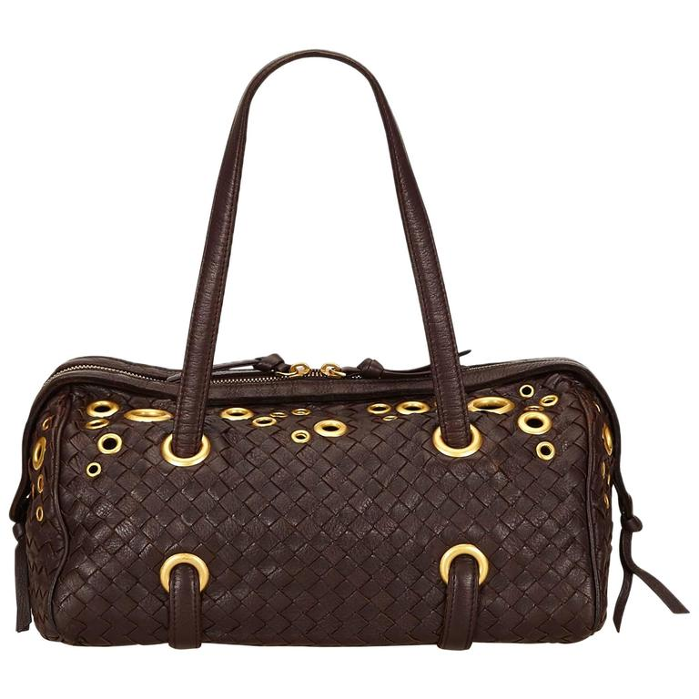 884ad91e1d1b Bottega Veneta Brown Studded Leather Intrecciato Shoulder Bag For Sale