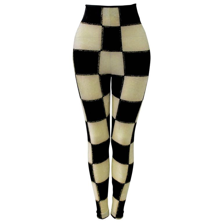Rare Gianni Versace Checked Velvet Leggings Fall 1994