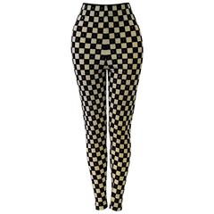 Rare Gianni Versace Couture Checked Velvet Leggings Fall 1994