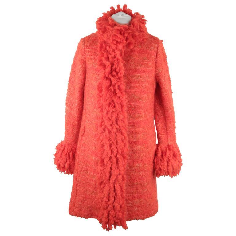 Missoni Home Nordstrom Rack: MISSONI Red Knit Wool Blend COAT Long Cardigan W/ SHAGGY