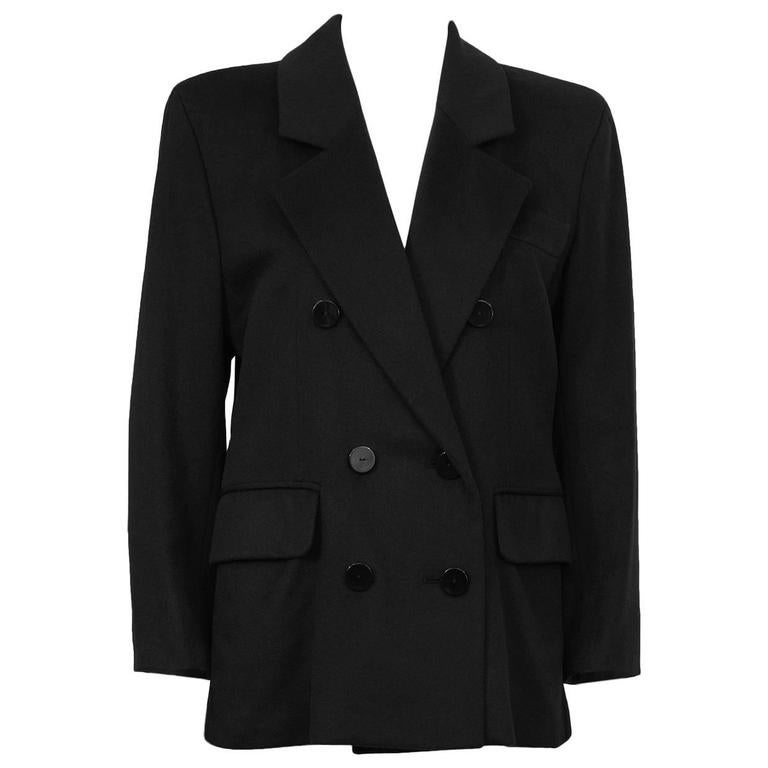 1980's Yves Saint Laurent YSL Black Cashmere Double Breasted Blazer For Sale