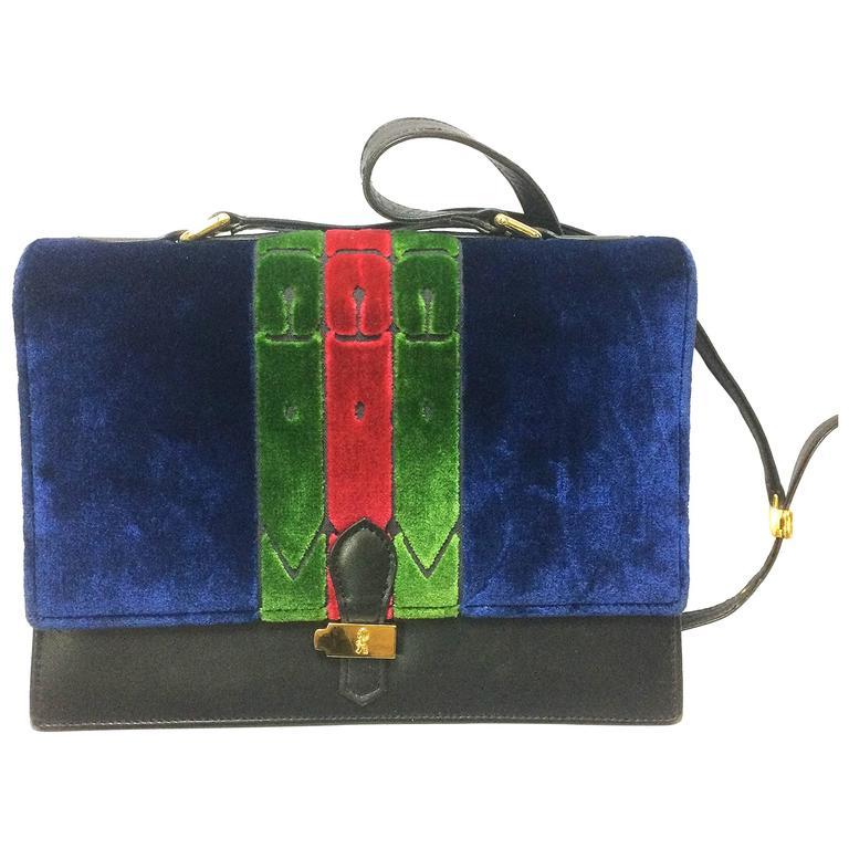 Vintage Roberta di Camerino red, navy, and green ribbon velvet shoulder bag. For Sale