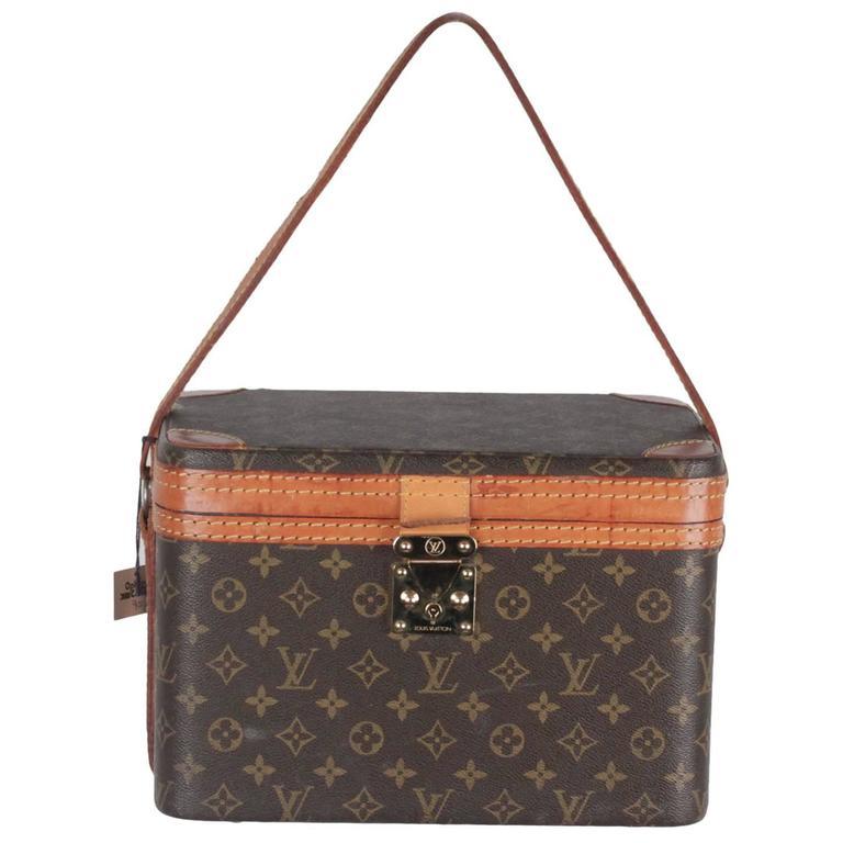 LOUIS VUITTON Vintage Brown MONOGRAM Canvas Travel Bag TRAIN CASE Beauty For Sale