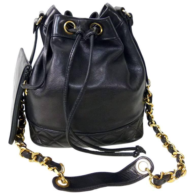 Chanel Black Lambskin Drawstring Shoulder Bag with Pouch For Sale ...