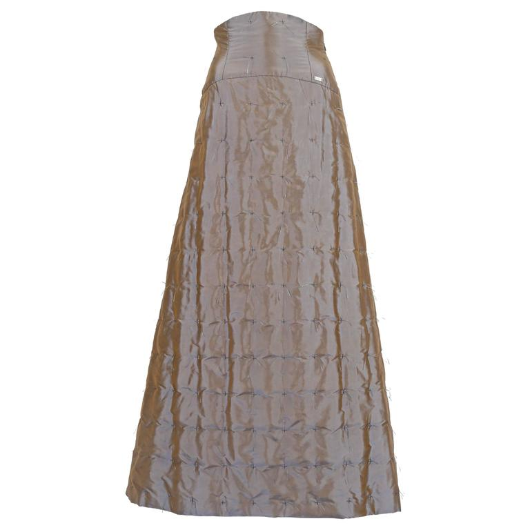 Chanel quilted two-tone taffeta evening skirt, circa 1999 For Sale