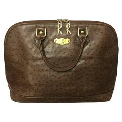 Vintage Roberta di Camerino ostrich embossed brown leather bag in Alma style