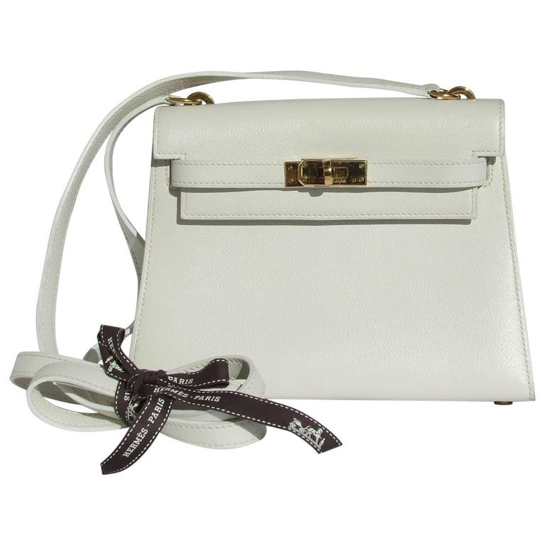 0ad0ebf4801a Hermès Vintage Mini Kelly Bag Sellier White Leather Gold Hdw 20 cm RARE For  Sale