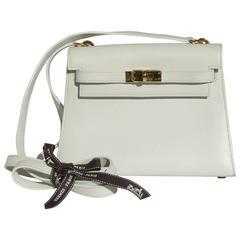 Rare Hermes Mini Kelly 20 cm Bag 2 ways White Leather Gold Hdw