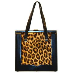 Large Animal Print Double Handle Handbag