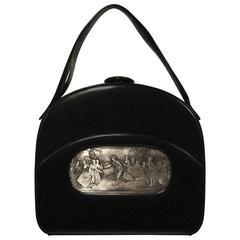 Rare, Oversized Architectural Black Calfskin Bag with Maillard Inset