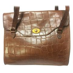 Vintage Mulberry brown croc embossed brown leather shoulder tote bag.