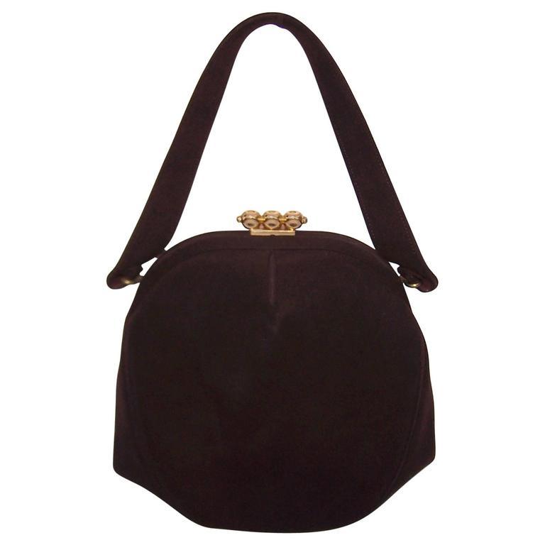 C.1950 Dorian Brown Suede Handbag With Unique Gold Tone Tab Closure