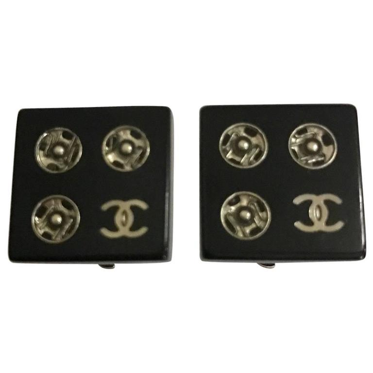 "Chanel Black Resin ""Tools of the Fashion Trade"" CC Logo Snap Earrings  For Sale"