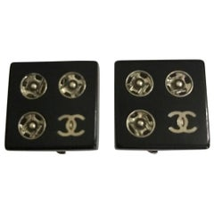 """Chanel Black Resin """"Tools of the Fashion Trade"""" CC Logo Snap Earrings"""