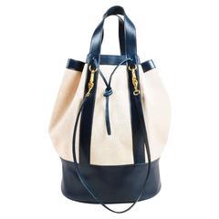 Vintage Hermes Tan Navy Leather Trimmed Canvas Bucket Bag