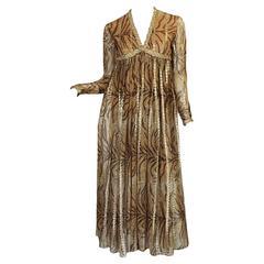 1970s Bill Blass Metallic Gold & Animal Print Silk Dress