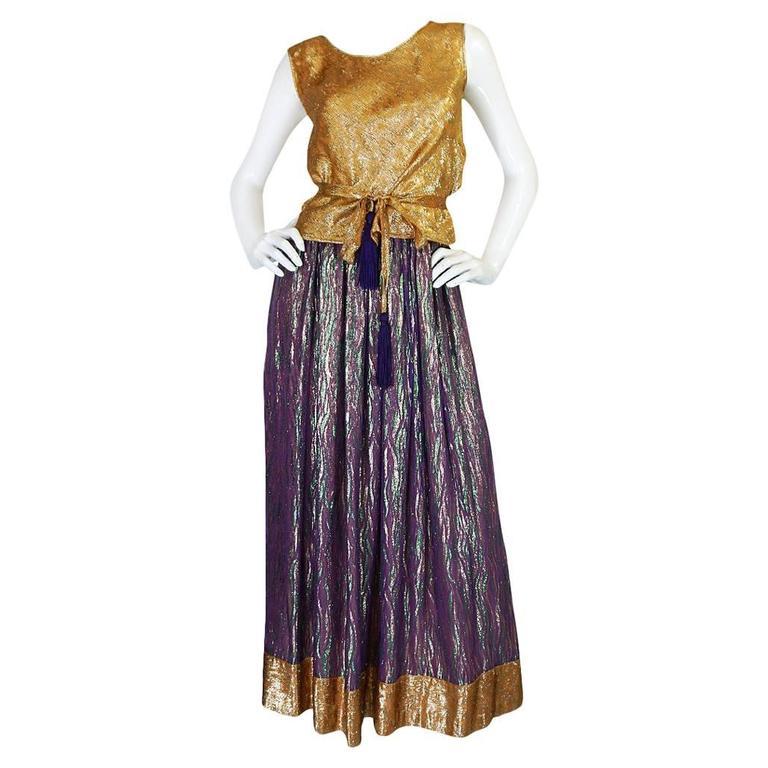 1970s Adolfo Metallic Gold and Purple Silk Skirt & Top Set 1