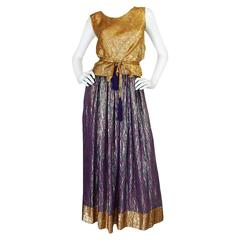 1970s Adolfo Metallic Gold and Purple Silk Skirt & Top Set