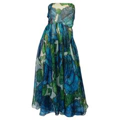 1950s Blue Strapless Silk Chiffon Helena Barbieri Dress