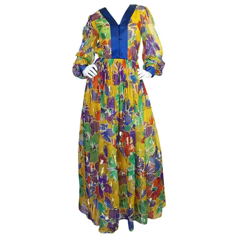 1970s Givenchy Floral & Heart Print Silk & Metallic Dress