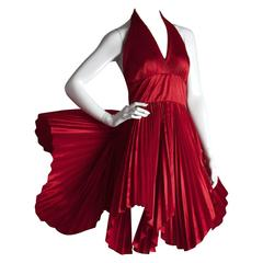 Vintage William Travilla Red Plunging Halter Pleated Dress