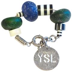 "Yves Saint Laurent ""Sea Glass"" Charm Bracelet"