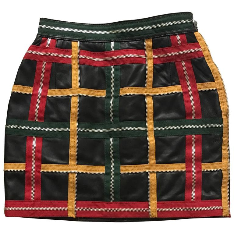 Moschino Vintage 1980s Black Leather Mini Skirt with Red Yellow Green Zippers 1