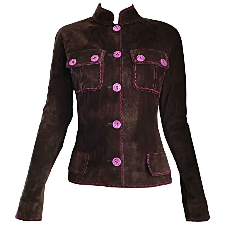 Vintage Emanuel Ungaro Leather Suede Chocolate Brown + Purple 1990s Moto Jacket 1