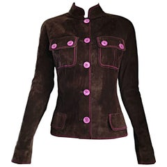 1990s Emanuel Ungaro Leather Suede Chocolate Brown + Purple Vintage Moto Jacket