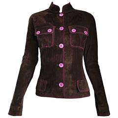 Vintage Emanuel Ungaro Leather Suede Chocolate Brown + Purple 1990s Moto Jacket